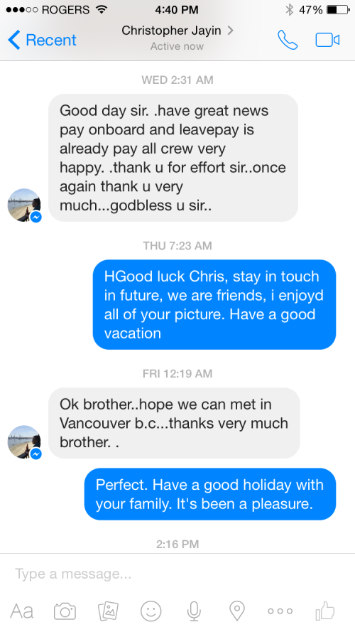 Thank you text from crew of Nord Explorer