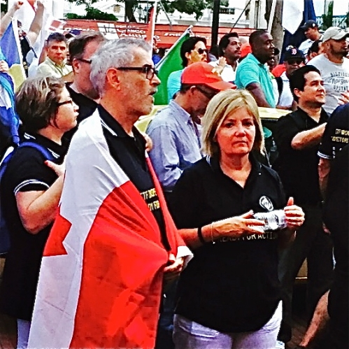 Gerard and partner Kelly at a solidarity rally in Panama during inspectors' training in fall of 2015. The rally was held in support of Panama canal workers.