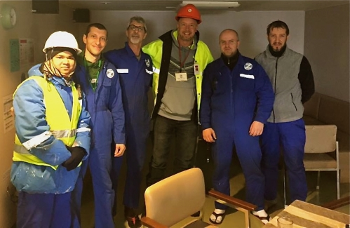 ITF Atlantic inspector Karl Risser (centre) reunites with crew of MV Goodwood in Port of Halifax, January 2016.